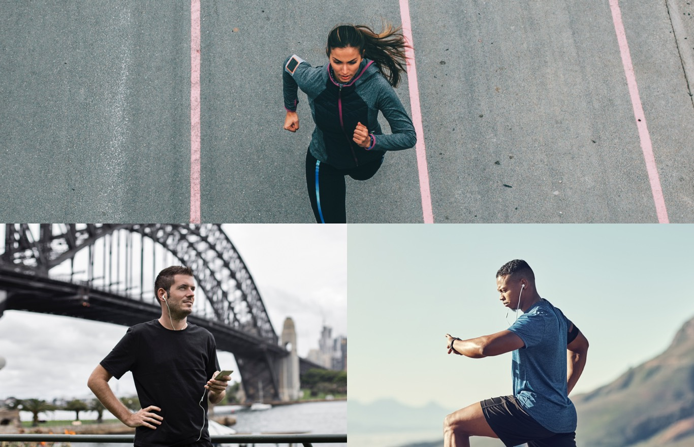 Consumer Electronics Markets - Woman running on road with fitness tracker, man with earbuds, and man preparing to run with a fitness tracker and earbuds.