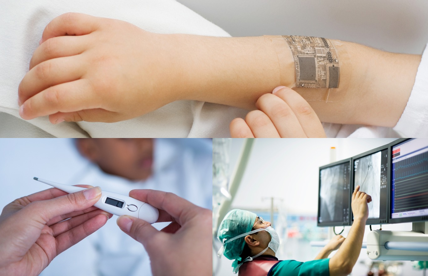Medical Applications and Markets - child with electronic medical device monitoring system, thermometer, medical doctor looking over vitals and x-rays over three monitors.
