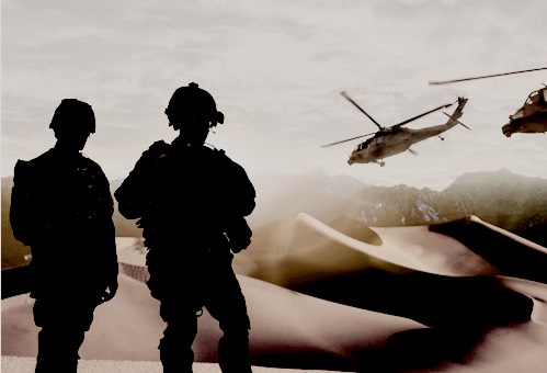 Proven Innovation. Two soldiers looking at the desert while two helicoptors flying over.
