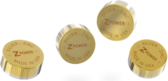 ZPower. Recharged. Four ZPower Silver-Zinc batteries. Made in the USA.